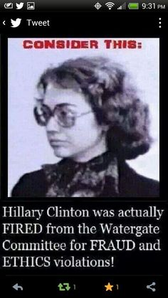 Hillary Clinton was actually fired from the Watergate Committee for FRAUD and ETHICS violations!