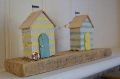 Driftwood Yellow & Turquoise Stripe Beach Hut by HSDesignsCornwall