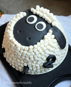 Looks just like Timmy from Timmy Time! Shaun The Sheep Cake, Sheep Cupcakes, Timmy Time, Lamb Cake, Cute Marshmallows, Marshmallow Cake, Novelty Cakes, Cute Cakes, Cake Creations