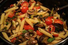 Meatless Monday - Aubergine/Mushroom/Leek/Cherry Tomato pasta