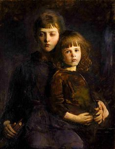 https://flic.kr/p/aSqMSP | Abbott H. Thayer 'Brother and Sister (Mary and Gerald Thayer)' 1889 | Abbott Handerson Thayer (1849-1921)  American artist, naturalist and teacher.  oil on canvas 36 1/4 x 28 1/4 in. (92 x 71.9 cm) Smithsonian American Art Museum: americanart.si.edu/collections/search/artwork/?id=23926  Biography: en.wikipedia.org/wiki/Abbott_Handerson_Thayer#Artistic_ac...  _________  Touch up by plumleaves