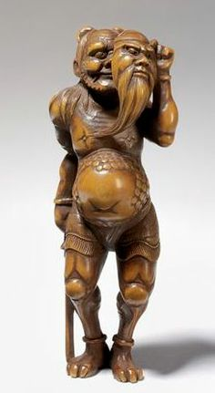 Japanese carved wood netsuke, Victoria and Albert Museum storage collection