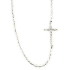 Sterling Silver & Diamond Sideways Cross Necklace
