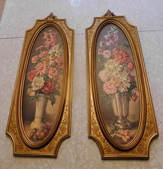 Pair of Vintage Dart (Cecil Rubino) Prints from 1964/Flowers in Vase with Gold Frame by RadiogirlCarolyn on Etsy