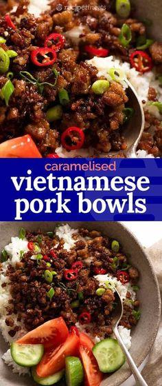 Vietnamese Caramelised Pork Bowls – Meet your new favourite pork mince recipe – Vietnamese Caramelised Pork Bowls! A super fast pork – - Vietnamese Caramelised Pork Bowls - Meet your new favourite pork mince recipe . New Recipes, Cooking Recipes, Favorite Recipes, Healthy Recipes, Recipes With Mince, Healthy Food, Recipes With Ground Pork And Rice, Quick Recipes With Pork, Veggie Mince Recipes