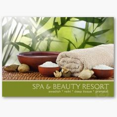 This business card, showing a tranquil outdoor spa setting, featuring bamboo background, brown ceramic bowls with salt crystals, fluffy towel on a bamboo mat, is ideal for those working in the beauty and spa industry, massage therapy, aromatherapy, motivational & other related professional fields.