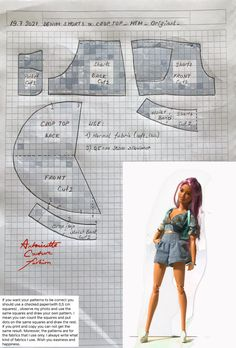 Sewing Barbie Clothes, Barbie Sewing Patterns, Doll Dress Patterns, Made To Move Barbie, Barbie Basics, Barbie Fashionista Dolls, Kids Dress Wear, Crochet Doll Dress, Barbie Dress