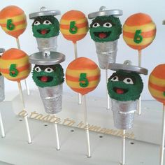 Oscar the Grouch cake pops and number cake pops representing Slimy the Worm.