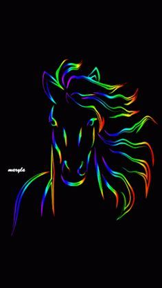Pretty Horse gif painting with rainbow colored mane that flows in the wind. Images Gif, Gif Pictures, Mononoke Anime, Arte Equina, Gif Animé, Arte Pop, Equine Art, Live Wallpapers, Phone Wallpapers