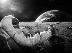 Relaxing on the moon