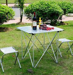 Klappstuhl Camping Klein Mettal Und Tisch