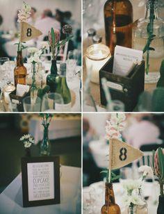 bottle table decor, loving the little flags