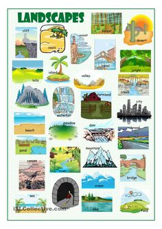 Education Discover Landscapes Picture Dictionary worksheet - Free ESL printable worksheets made by teachers English Idioms English Fun English Study English Words English Vocabulary English Grammar Learn English English Resources English Activities English Fun, English Idioms, English Study, English Words, English Grammar, Learn English, English Resources, English Activities, English Lessons