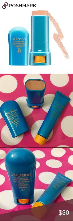 """💯☀️Shiseido x 2 foundation  Spf 37 stick new&spf Authentic brand new foundation stick with sunblock spf 37 bnnb ! And deluxe spf sunblock in 50 spf ! This is an amazing product ! Especially for up coming sunny days ! Stay wrinkle and sun spot  free w/ this convenient stick 👍🏼shade color is """"beige """" never used ! Comes gift Sephora Makeup"""