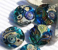 Deep Atlantis - OOAK aqua-teal handmade lampwork bead set sra  by MayaHoney