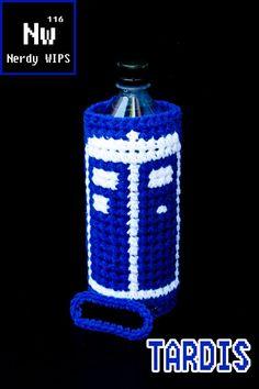 TARDIS water bottle sling crochet - Doctor Who crochet