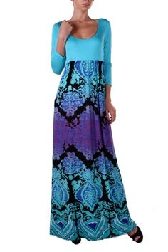 95%POLYESTER 5%SPANDEX PRINT MAXI DRESS MADE IN USA