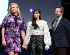 Charlize Theron, David Leitch, and Sofia Boutella at an event for Atomic Blonde Charlize Theron Style, Sofia Boutella, Atomic Blonde, Kirsten Dunst, Girls In Love, Kimono Top, David, Actresses, People