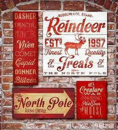 Christmas Holiday typography signage graphic artwork on gallery wrapped canvas by Stephen Fowler - need reindeer names and not a creature was stirring Primitive Christmas, Noel Christmas, Christmas Signs, Country Christmas, Christmas Projects, All Things Christmas, Winter Christmas, Holiday Crafts, Holiday Fun