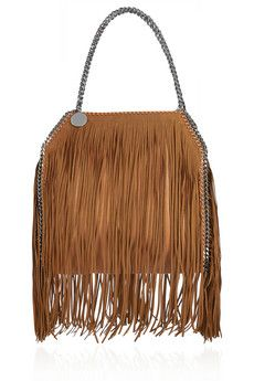 Stella McCartney The Falabella medium fringed faux brushed-leather shoulder bag | NET-A-PORTER