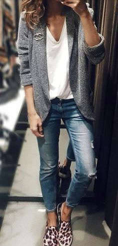 #fall #outfits gray cardigan