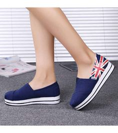 Women's #blue #slipOn platform shoes with flag pattern print, casual, leisure Occasions.