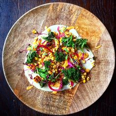 Flavour - Jerusalem artichoke purée (made with almond milk), grilled chipotle corn, pickled red onions, crispy kale and our Red Pepper and Cayenne Dressing