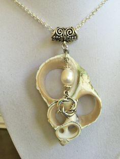 This shell slice I bought in Hawaii years ago. I have hung with it a 12mm freshwater pearl with silver bead caps and a silver charm with three dolphins. These all hang from a silver bail on a 24 inch silver Rolo chain with clasp. This is a one only piece. This will come to you nicely wrapped in a gift box and by the first available mail.