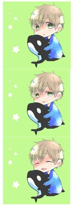 Drawn by 悠夜 ... Free! - Iwatobi Swim Club, matsuoka, makoto tachibana, makoto, tachibana, free!, iwatobi, killer whale, orca
