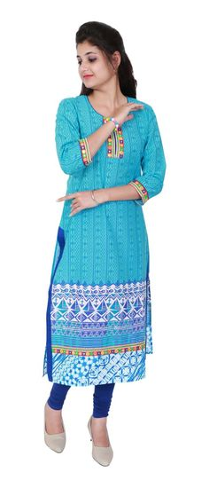 Get this beautiful blue ethnic kurti for you!