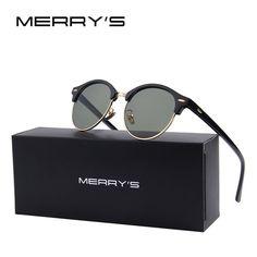 8af68eef2ad MERRY S Men Retro Rivet Polarized Classic Sunglasses