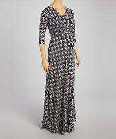 Loving this Black & White Diamond Maternity Maxi Dress on #zulily! #zulilyfinds