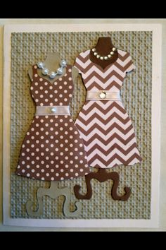 Chevron , poka dot grey dress forms by stampin up with pearls and rhinestones.