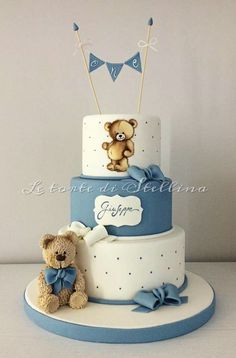 First birthday for boy! First birthday for boy! Torta Baby Shower, Baby Shower Cakes For Boys, Baby Boy Cakes, Baby Boy Shower, Baby Boy Birthday Cake, Teddy Bear Birthday, 1st Birthday Cakes, Teddy Bear Cakes, Teddy Bears