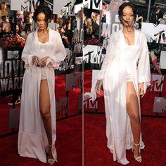 Rihanna at MTV Movie Awards 2014 wearing Ulyana Sergeenko Spring 2014 couture and Manolo Blahnik sandals.