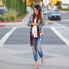 """""""Tomorrow's look on the blog... I'm loving this little sequin blazer (only $25 and good quality!!) and talking about how versatile it is for the upcoming…"""""""
