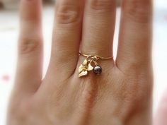 Charm ring Gold filled ring Flower orchid ring Dainty by Lalinne, $23.00