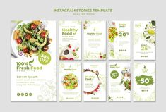 Restaurant instagram stories set templat... | Free Psd #Freepik #freepsd #food #template #restaurant #instagram Food Web Design, Menu Design, Food Branding, Food Packaging Design, Food Template, Templates, Salad Packaging, Instagram Design, Food Instagram