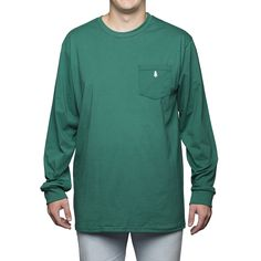 Long Sleeve Embroidered Tee in Green | pine and pecan Pre-Order now through 11/08/15