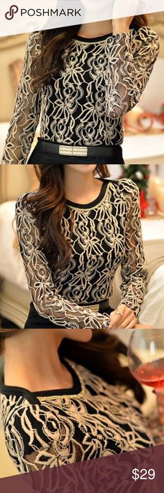 🌺Lace top jeweled neckline 🌺Beautiful and perfect for the holidays! Tops Blouses
