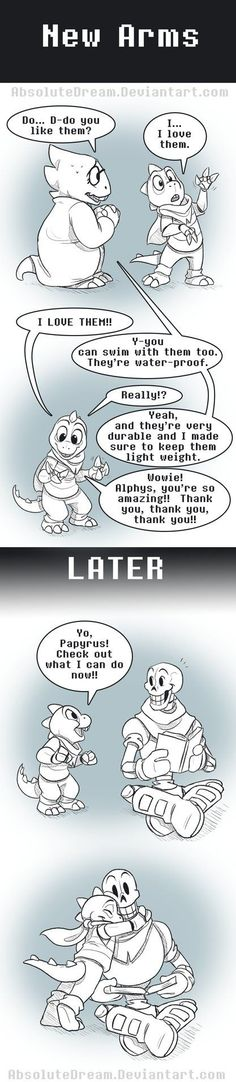 UT Comic: NewArms by AbsoluteDream.deviantart.com on @DeviantArt- Alphys, Monster Kid, Papyrus