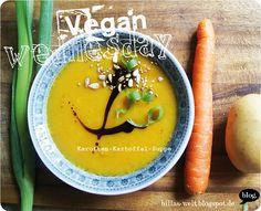 Mit dem Herbst kommt die Suppe: Karotten-Kartoffel-Suppe bei Billa. http://billas-welt.blogspot.de/2013/09/vegan-wednesday-57.html