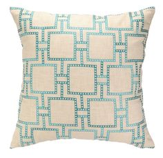 Decorate your home with a lovely geometric flair when you shop for a DL Rhein Dotted Line Turquoise Embroidered Pillow | Free Shipping
