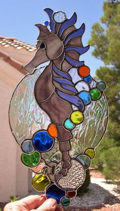 Stained Glass Sea Horse with Colorful by StainedGlassbyWalter