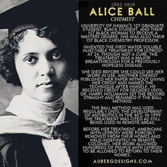 Alice Ball earned a degree in pharmacy and a degree in pharmaceutical chemistry at the University of Washington from 2015 Women's History Month STEM Biography Series Roundup Black History Facts, Black History Month, Strange History, Great Women, Amazing Women, Amazing People, Beautiful Women, African American History, British History