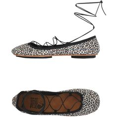 Mon Massagué Ballet Flats (£99) ❤ liked on Polyvore featuring shoes, flats, black, black leather flats, leather ballet flats, black lace up flats, leopard print flats and black flats