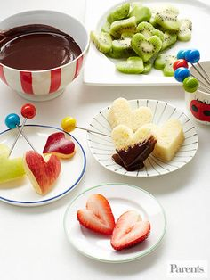 Everything is better when it's dipped in #chocolate, even already-adorable heart-shaped fruit and pound cake.