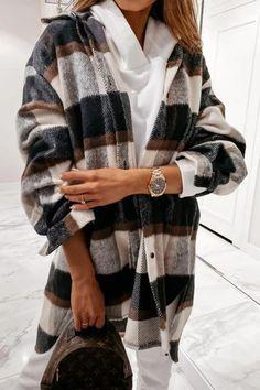 Faux Fur Hooded Coat, Plaid Outfits, Denim Coat, Ripped Denim, Long Sleeve Shirts, Street Wear, Casual, Sleeves, Fashion Coat
