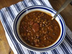 Three Bean Chili from Kiwi and Peach   {without the packet} Make your own French's Chili-O seasoning at home and say no to nasty chemicals and processed corn product!