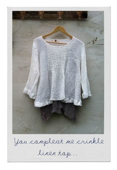 You Compleat me Crinkle Linen Top - ecru